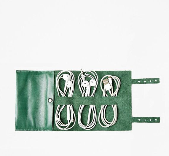 Juniper Green Cordito Leather Cord Wrap // Organize Your Wires & Cords in Our Luxe Leather Roll by thisisground on Etsy https://www.etsy.com/listing/229098384/juniper-green-cordito-leather-cord-wrap
