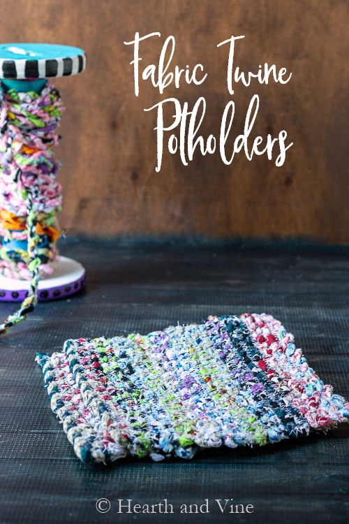 DIY Fabric Twine Potholders - Colorful and Functional #scrapfabric