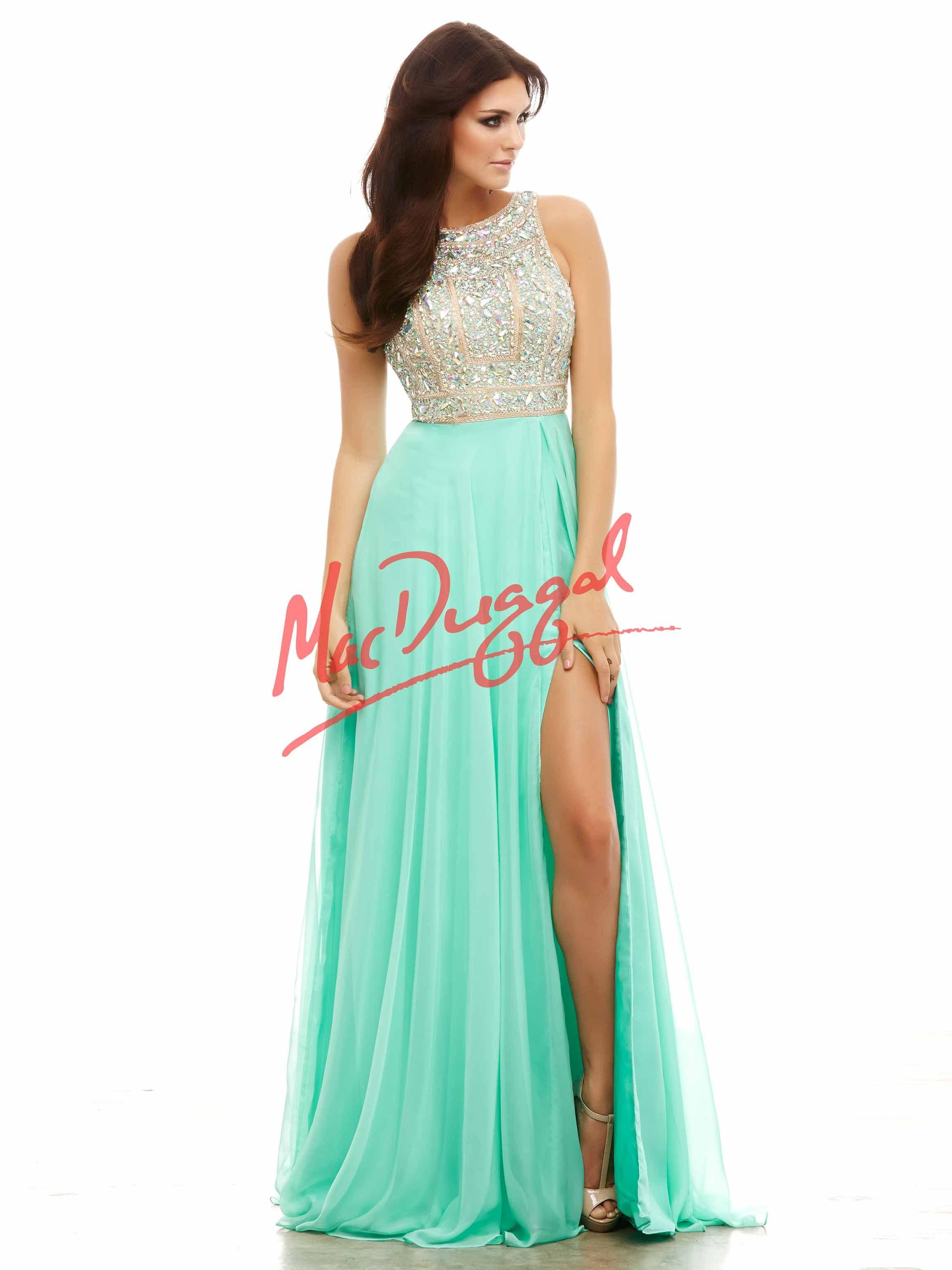 Style 40403A chiffon prom dress from Mac Duggal offers high slit skirt and crystal encrusted high neck