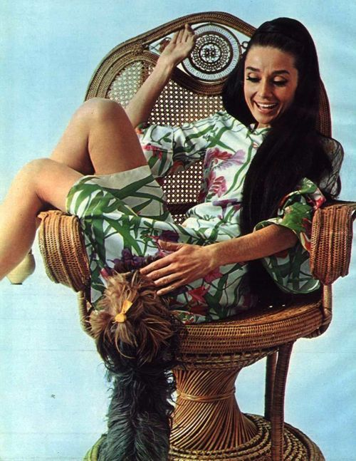 "Audrey Hepburn photographed with Assam of Assam by William Klein to a fashion editorial and also for the publicity of ""Two for the Road"" (1967). -Audrey was wearing a creation of Ken Scott."