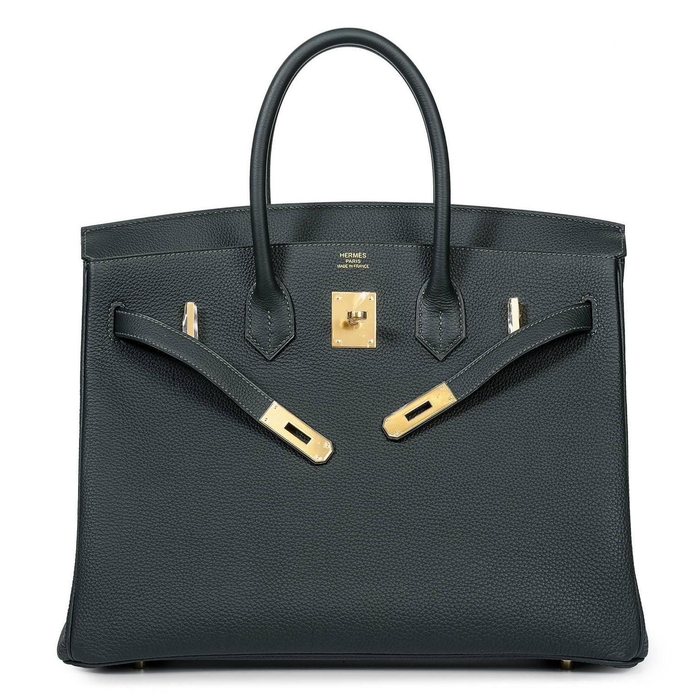 6aa723ce93 NEW Birkin 35 Vert Foncé Togo with GOLD hardware | bags| Hermès ...