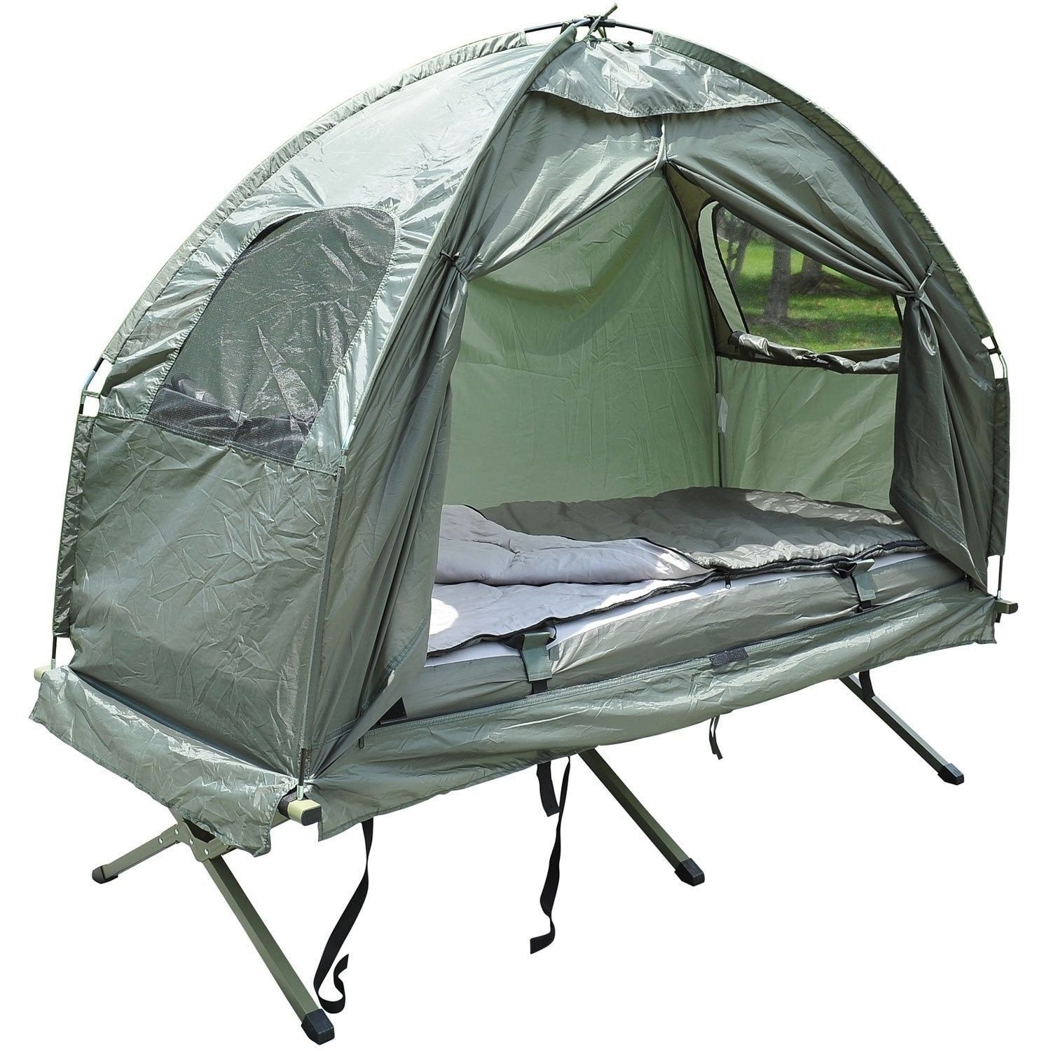 Outsunny Compact Portable Pop Up Tent Camping Cot With Air