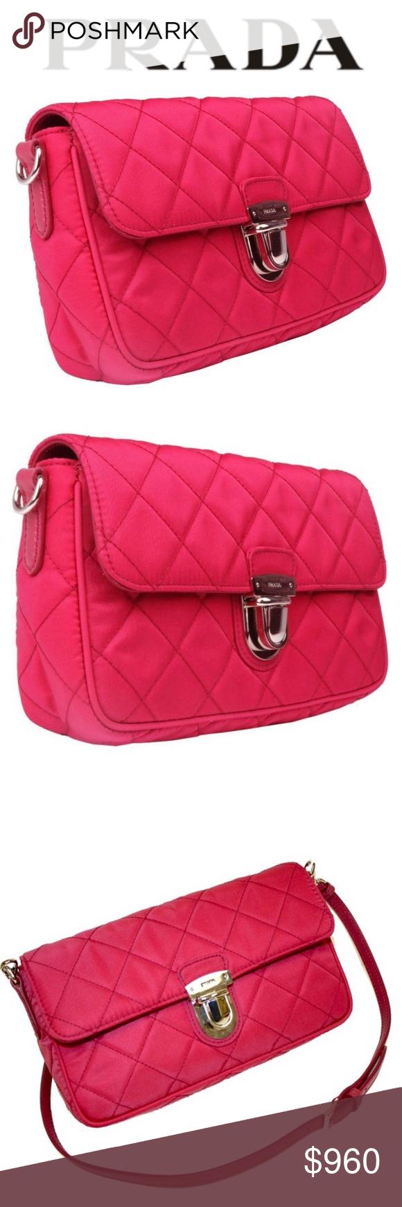 4f37b8f1854e62 ✦NEW PRADA Pink Quilted Shoulder Bag✦ ✦NEW PRADA Tessuto Impuntu Pattina  Quilted Nylon