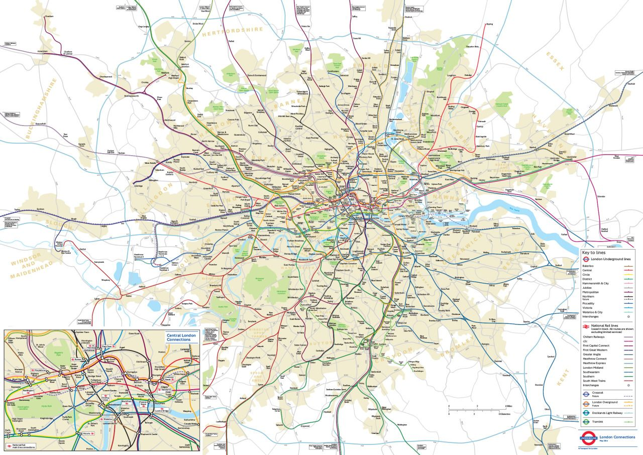Geographical Map Of London.Official Map Geographical London Connections Map By