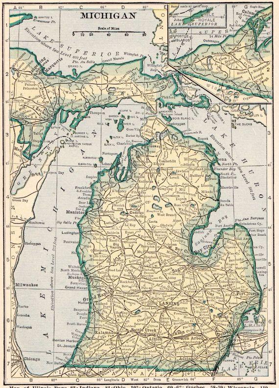 Vintage MICHIGAN US Map Original Print Neat Collectible - Michigan on a us map