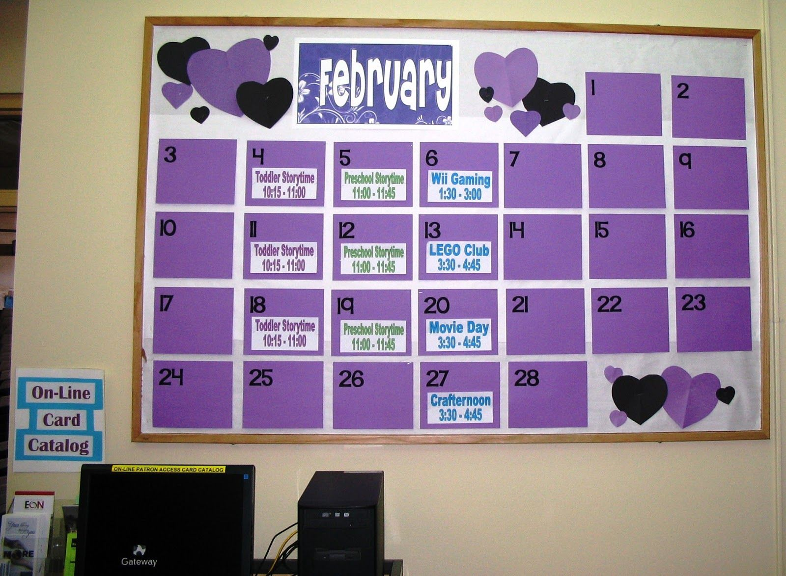 Calendar Bulletin Board Ideas Middle School : Giant calendar in hallway with upcoming events books