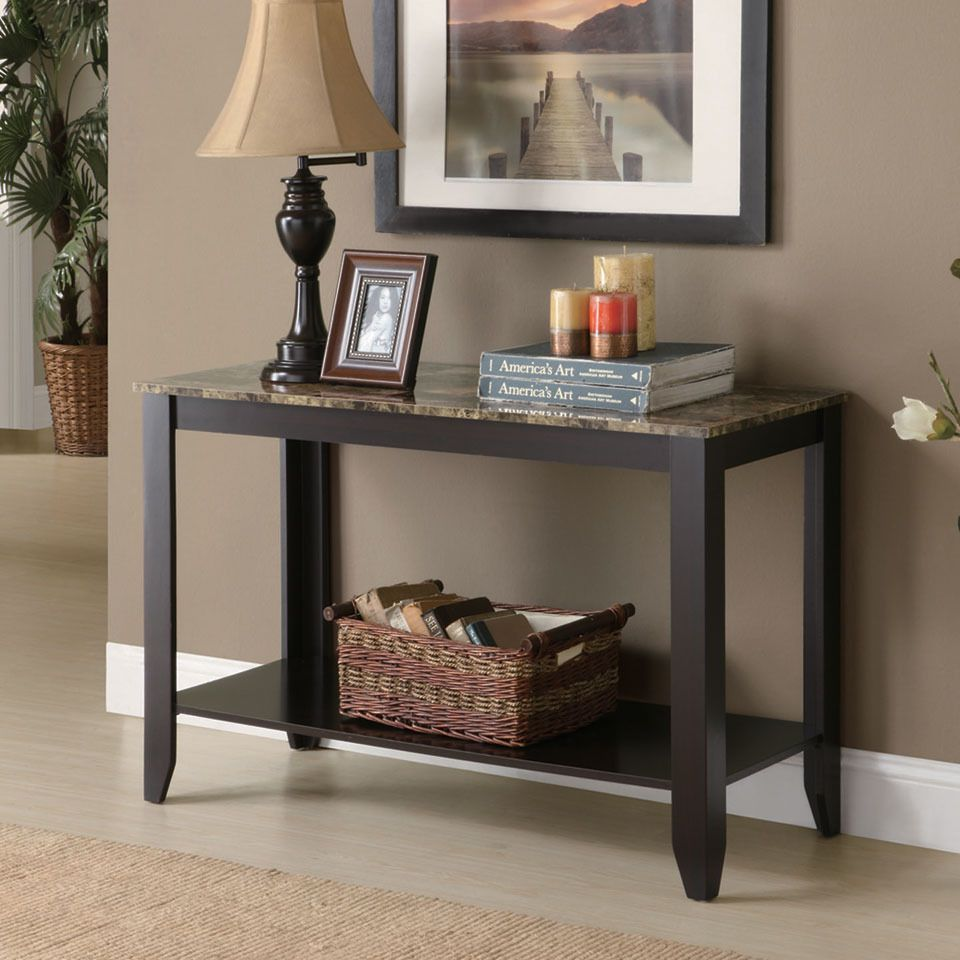 Sofa Table Ideas: Monarch 2-Tier Sofa / Console Table With Faux Marble Top