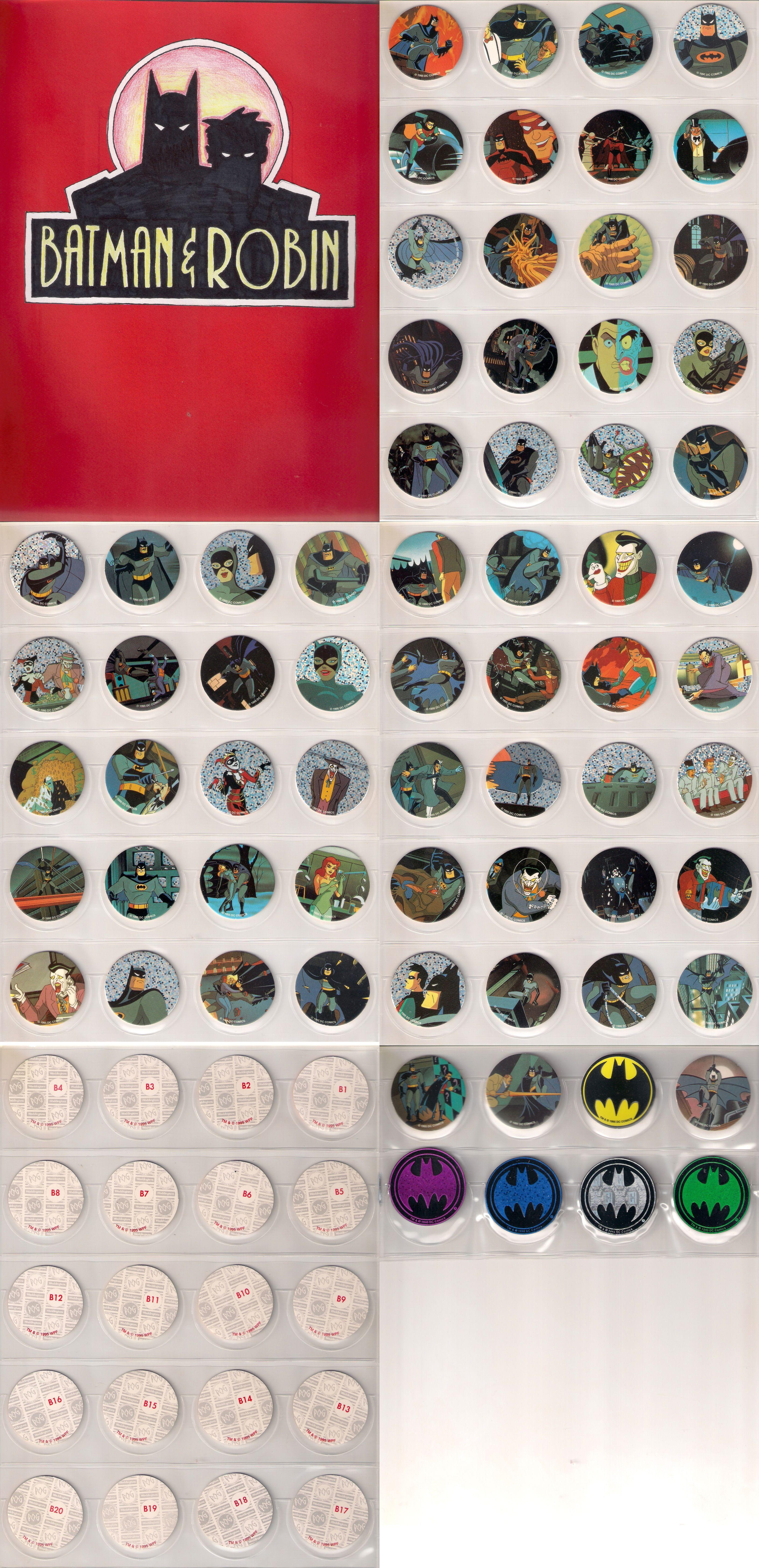 Batman & Robin Pogs by Waddington's Complete Set of 60 + 8 Slammers