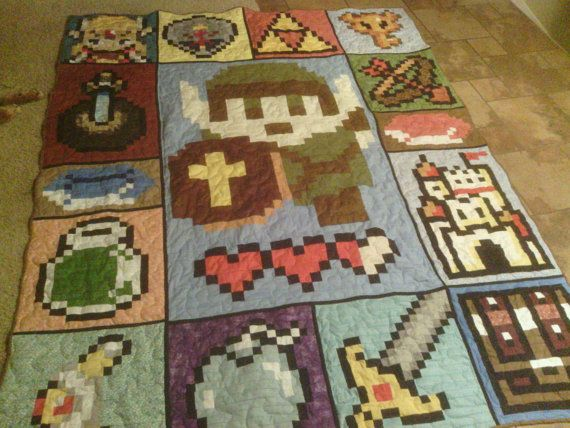 Zelda quilt! This is the kind of stuff I would want to make if I ... : video game quilt pattern - Adamdwight.com