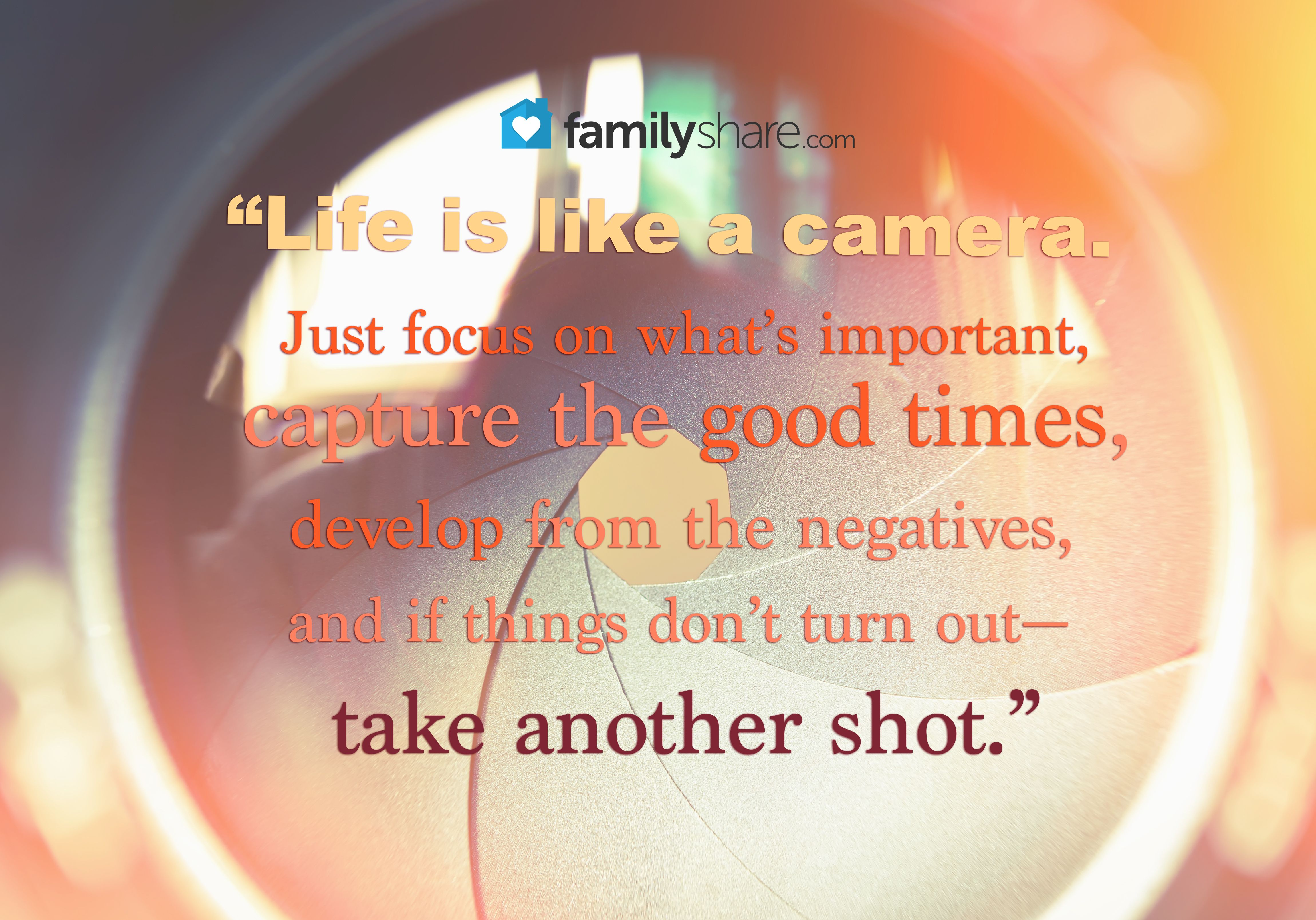 life is like a camera quote canvas