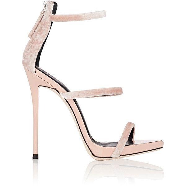 Giuseppe Zanotti Women's Coline Velvet Sandals (€795) ❤ liked on Polyvore featuring shoes, sandals, light pink sandals, velvet sandals, high heeled footwear, high heel stilettos and stilettos shoes