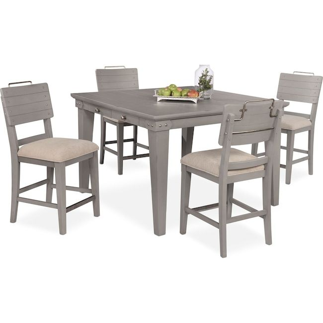 Dining Room Furniture - New Haven Counter-Height Dining Table and 4