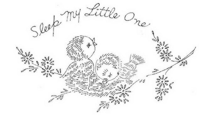 Birdies pillow case (what a pretty gift this would make for a baby shower)