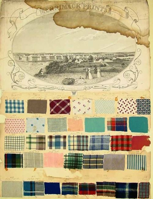 samples of textiles from the Lowell mills, used for Longfellow children's clothing. 1845-1850  Fanny Longfellow's father, Nathan Appleton, was one of the founders of the Lowell texile mills, and a pioneer in American textile manufacturing.    Fanny preserved samples of fabrics from the Lowell mills that were used to make her children's clothing as well as other textile samples.