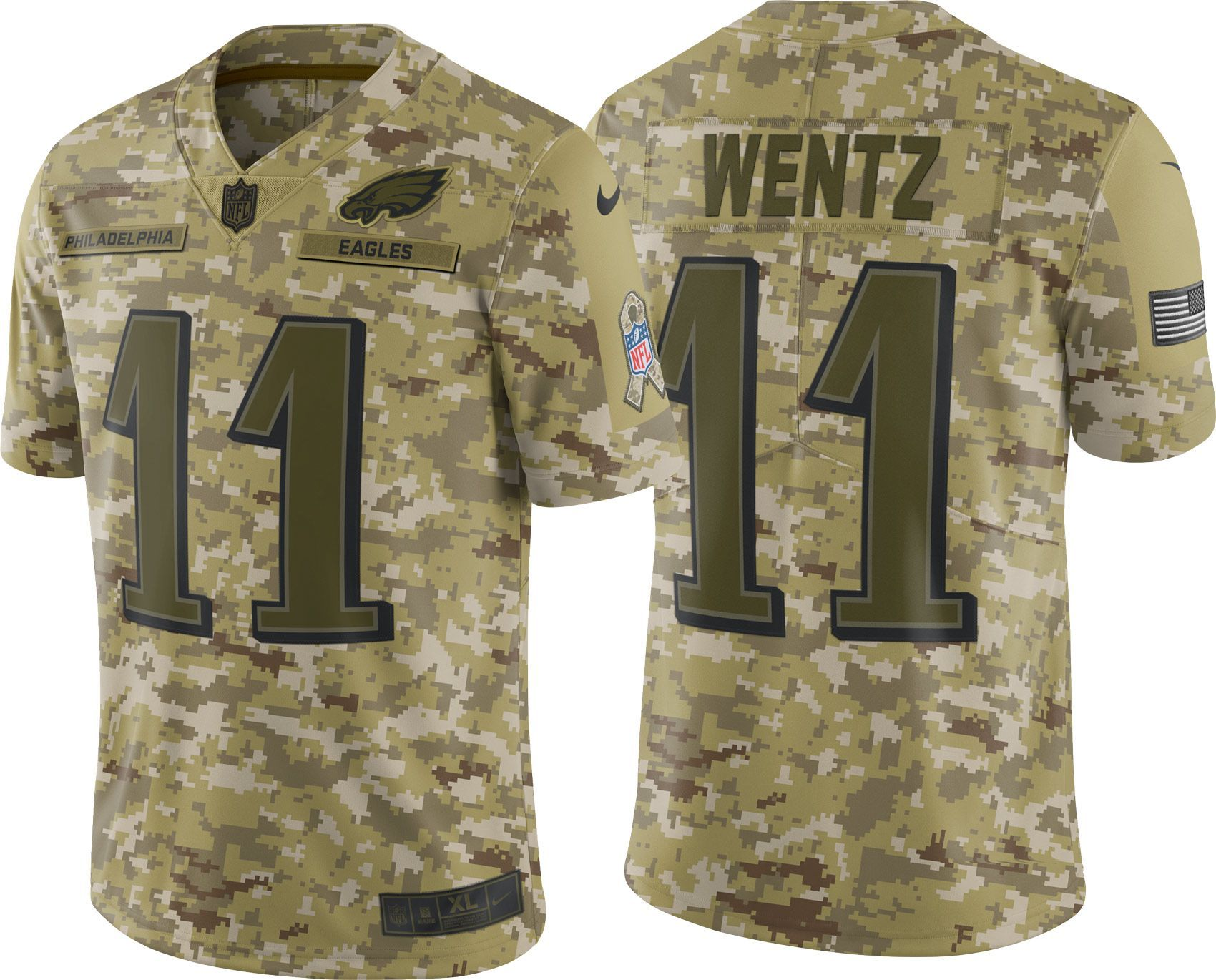 the latest 842cd 6c4fd Nike Men's Salute to Service Philadelphia Carson Wentz #11 ...