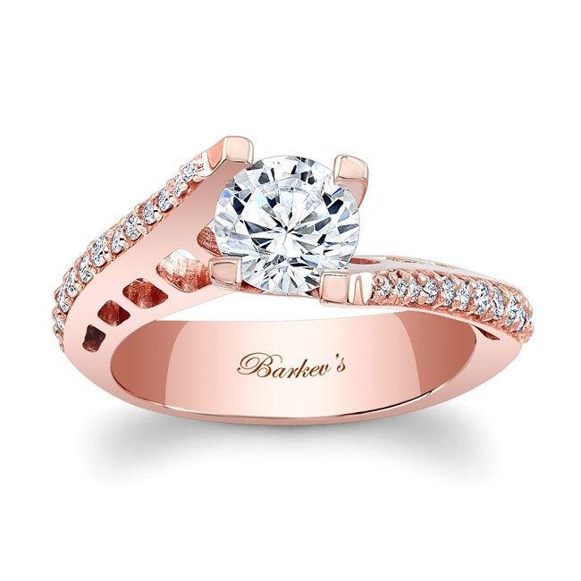 Rose Gold Engagement Ring 7927LPW Modern in design yet