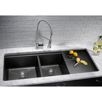 Blanco Undermount Double Bowl Kitchen Sink With Drainer 440411 Metallic Gray