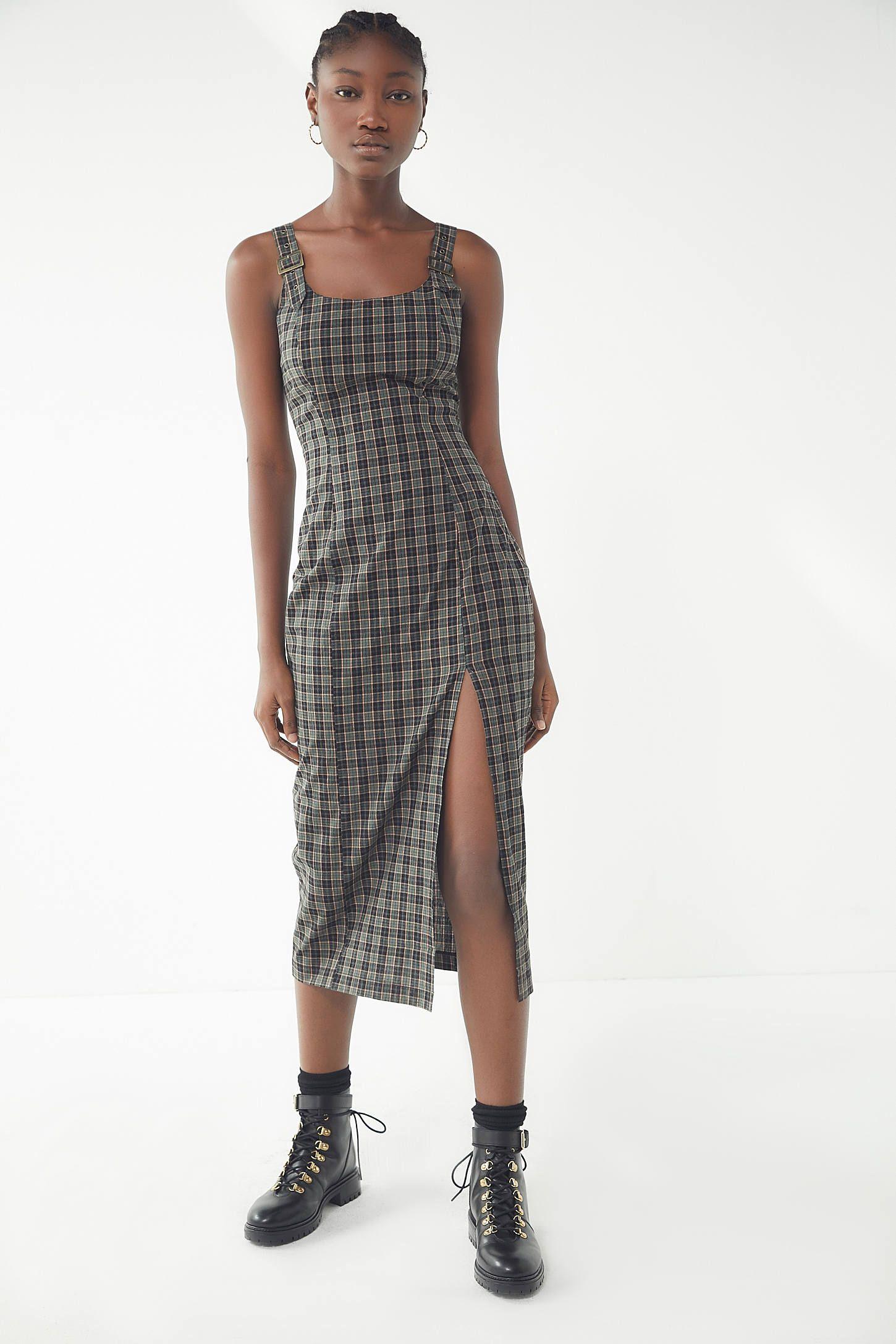 e92ea9508f3 UO Charlotte Plaid Pinafore Midi Dress