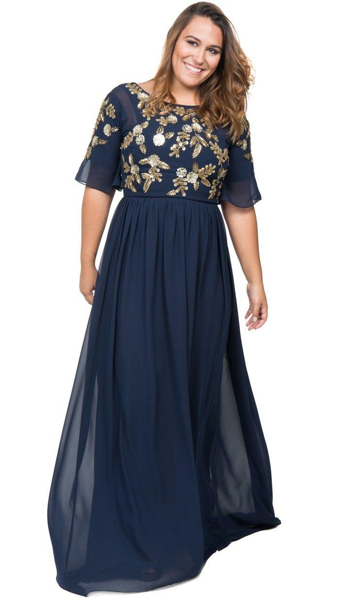 9cb90993ba5e vestido largo lentejuelas azul noche tallas grandes de virgos lounge ...