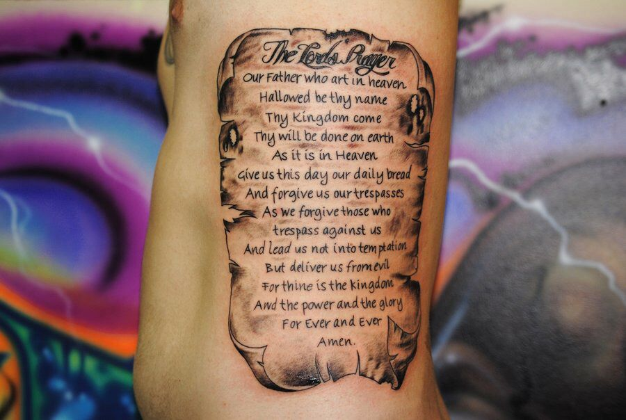 The Lord S Prayer Lords Prayer Tattoo The Lords Prayer Prayer Tattoo
