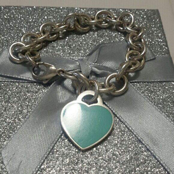 Tiffany&co sterling silver 925 RTT Braclet Tiffany&co sterling silver 925 RTT Blue Enamel Heart Tag Bracelet  size 7 1/2 in Tiffany&co  Jewelry Bracelets