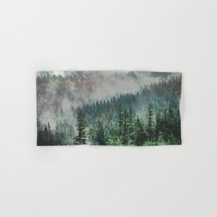 Foggy Forest Wanderlust Adventure - Pnw Photography Hand & Bath Towel by Cascadia - Hand Towel
