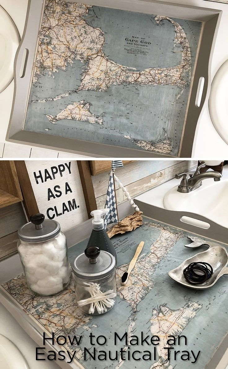 Map Tray Diy Nautical Decor Idea For Your Home In 2020 Nautical
