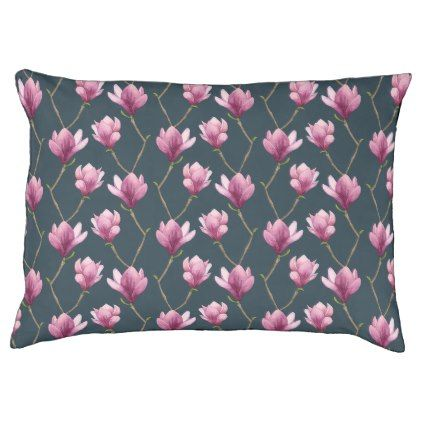 Magnolia Watercolor Floral Pattern Pet Bed - purple floral style gifts flower flowers diy customize unique