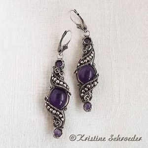 Image of Theodora Earrings in Sterling Silver and Amethyst #1711