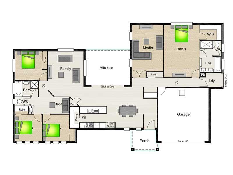 New House Designs Stroud Homes Breezeway House Plans House Floor Plans