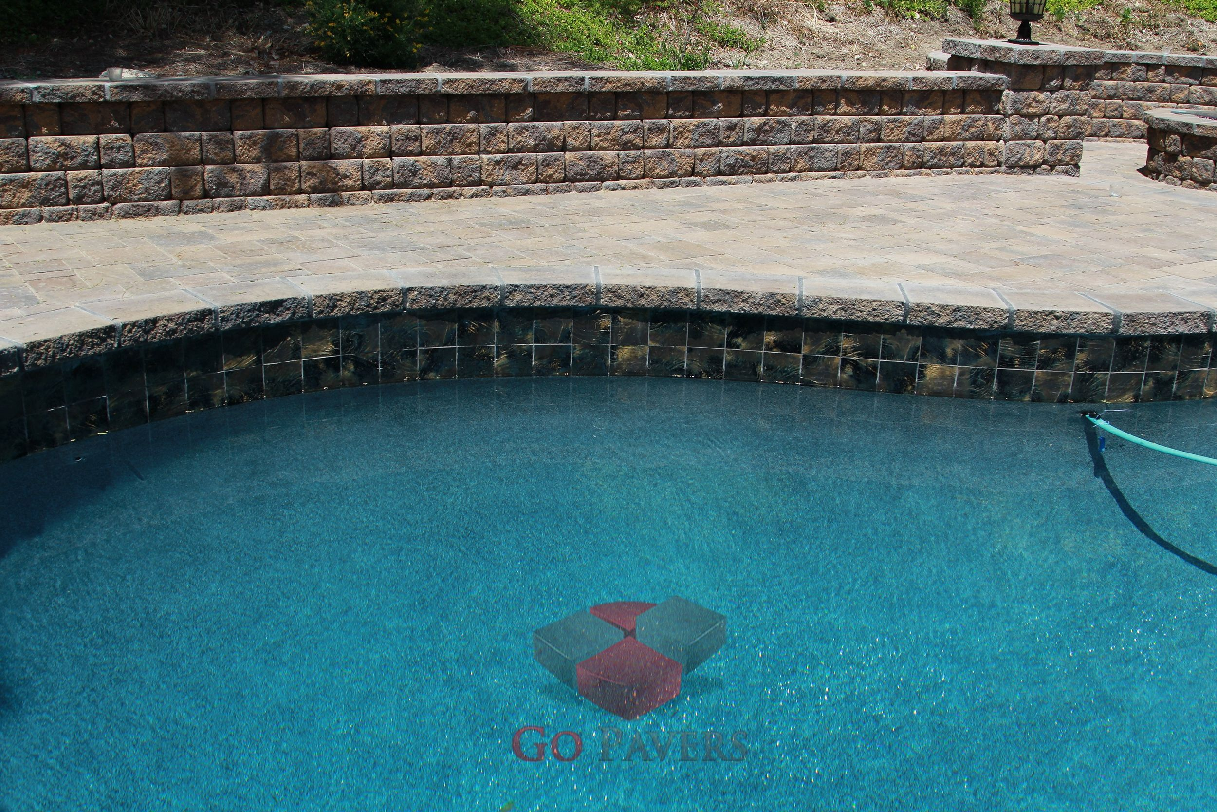 West Hills Paver Seating Wall And Pillars Fire Pit And Pool