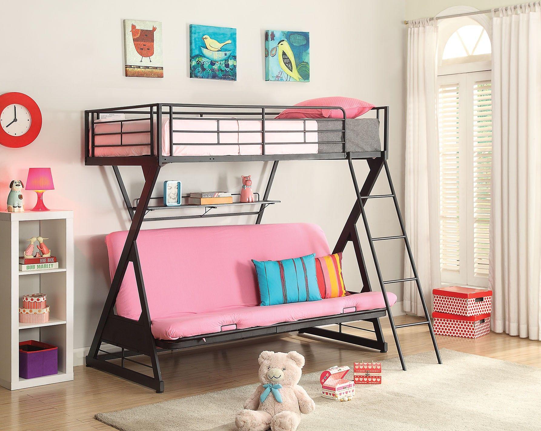 Zazie Full/Twin Size Futon Bunk Bed w/Bookshelf Futon