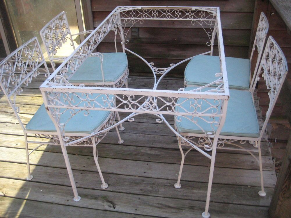 Vintage Mid Century Wrought Iron Patio Set Salterini Woodard Four
