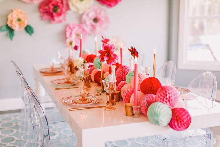 Tissue Paper Honeycomb Ball Decoration As Runner On White Glossy Table With Ghost Chairs Lovelyfest Ev Dinner Party Style Ball Decorations Party Decorations