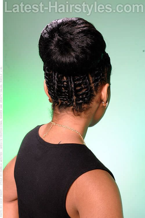 Chain Braid Bun Hairstyle Back View Hair Styles Natural Hair Styles Braided Hairstyles
