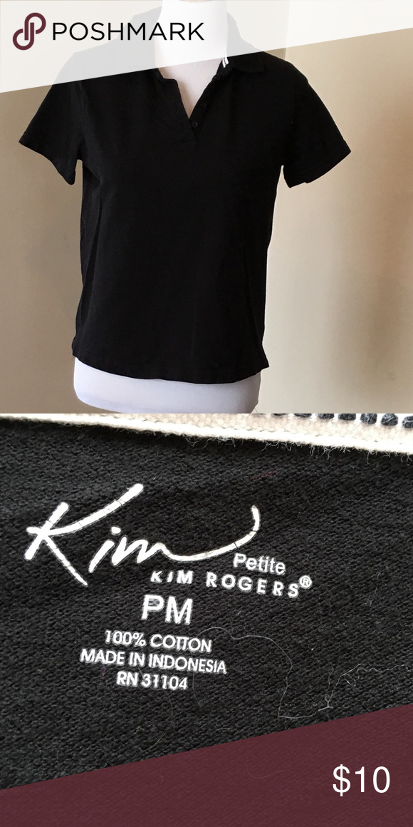 f44a7e48adf0 Size PM Kim Rogers Black Top Size PM Kim Rogers shirt sleeved black top. V  neck. Good Condition. Kim Rogers Tops Tees - Short Sleeve