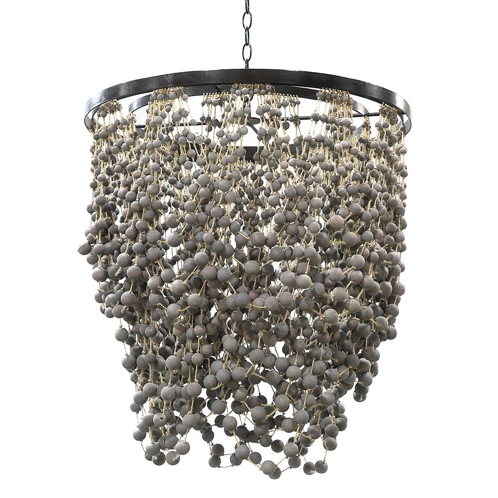 Wood beaded chandelier in a dusty plum stained finish accented with palecek layla chandelier cascading chandeliers lighting candelabra inc arubaitofo Image collections