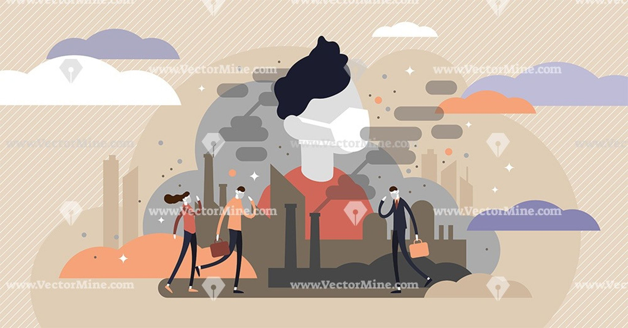 Urban air pollution tiny persons concept vector