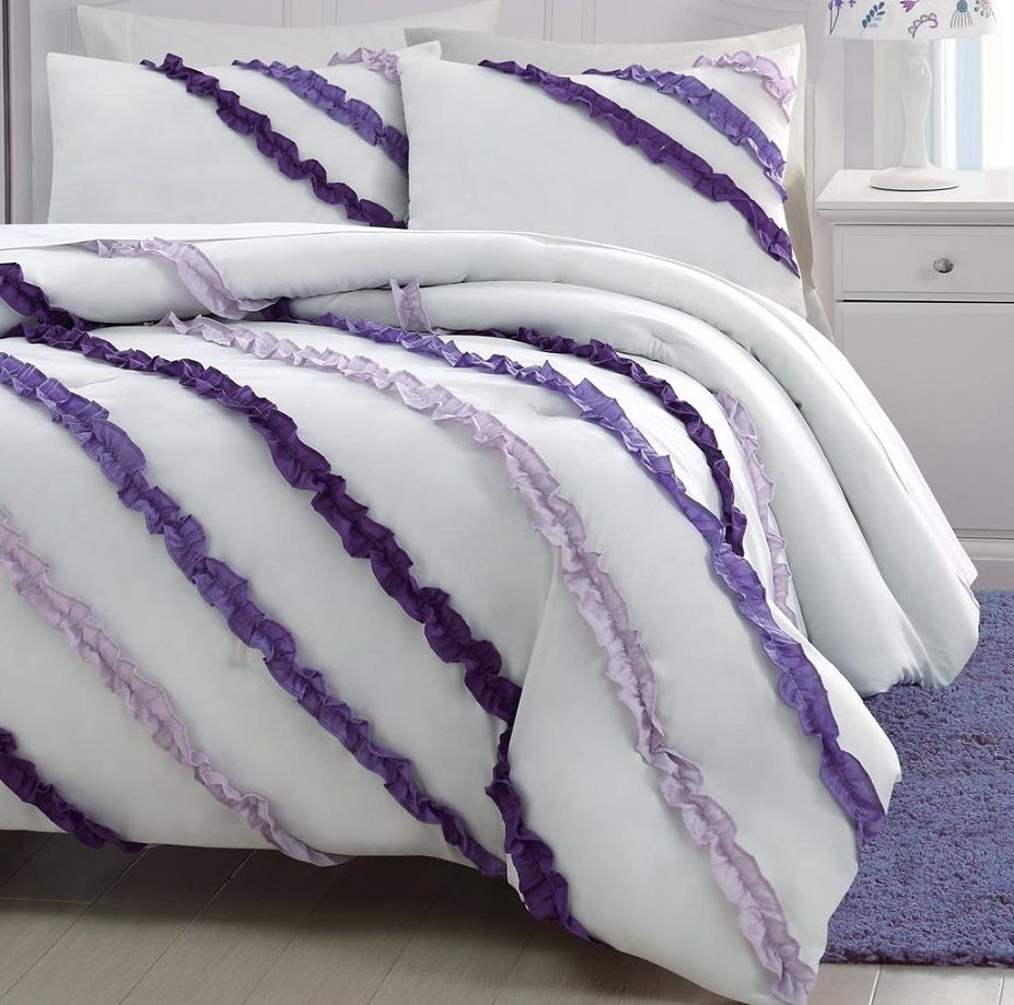 3 Piece Soft White Purple Lavender Ruffled Comforter Set