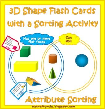 3d shape sorting activity 3d shapes venn diagrams and diagram 3d shape flash cards with venn diagram sorting activity on sale ccuart Images