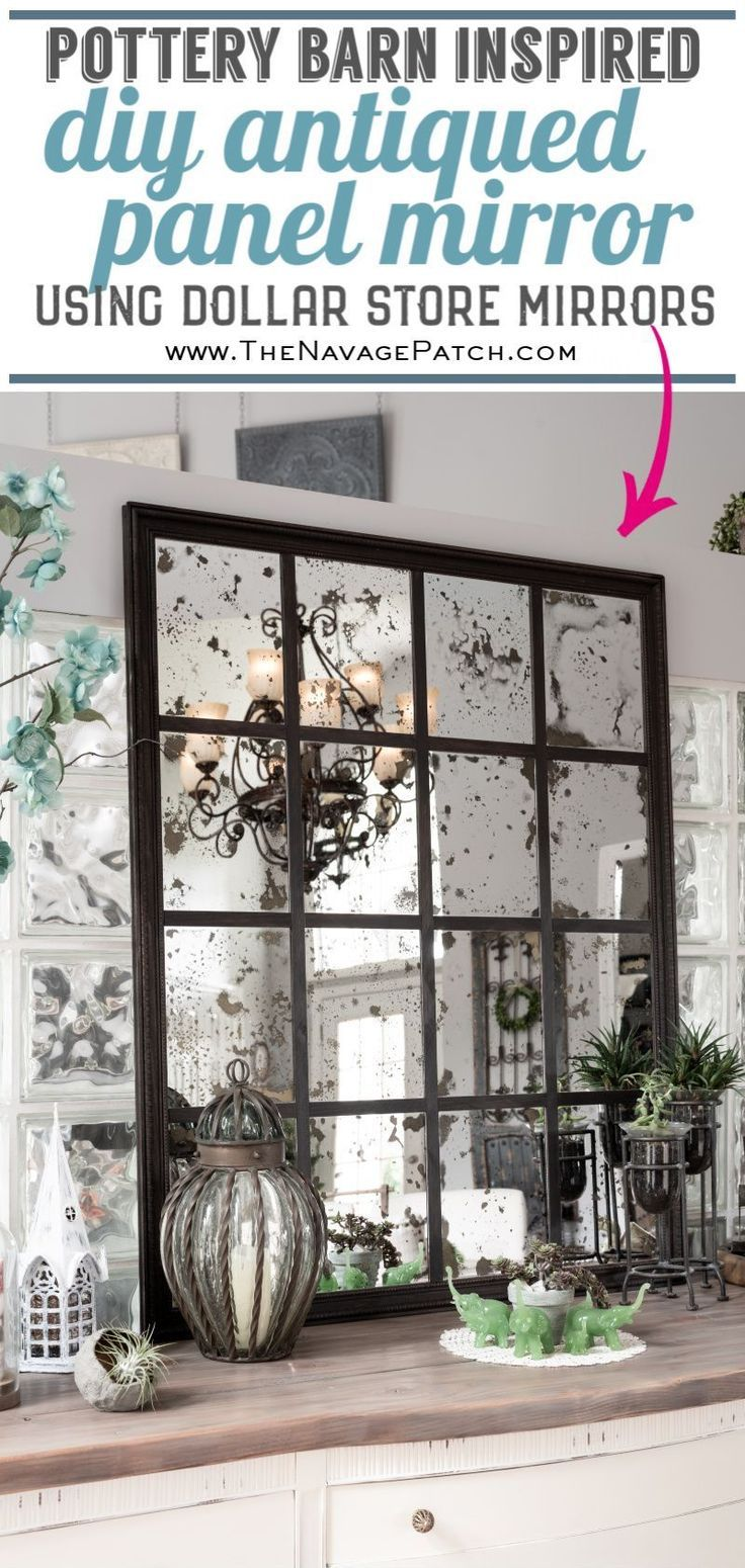 DIY Antiqued Panel Mirror (Pottery Barn Inspired)