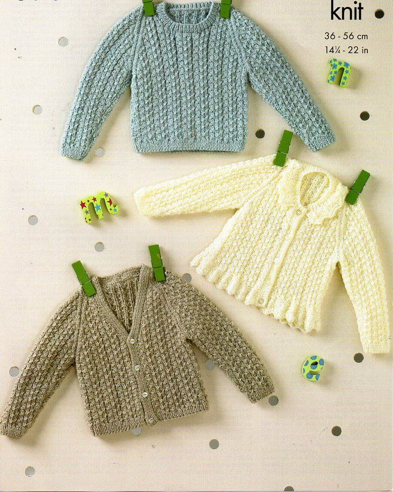 baby cable cardigans sweater knitting pattern PDF DK cable collar ...