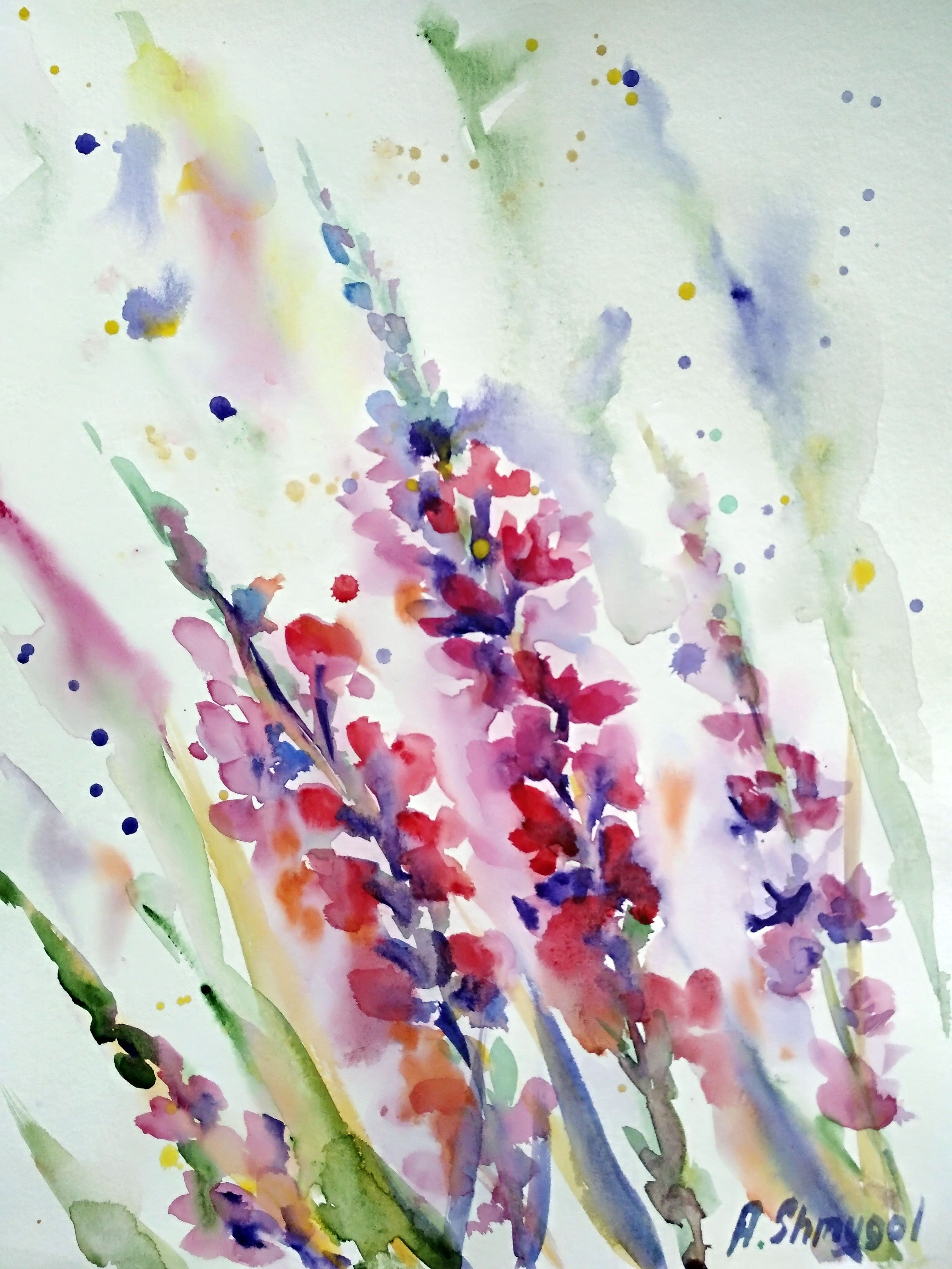Watercolor Flowers Field Grass Field Herbs Watercolor Painting