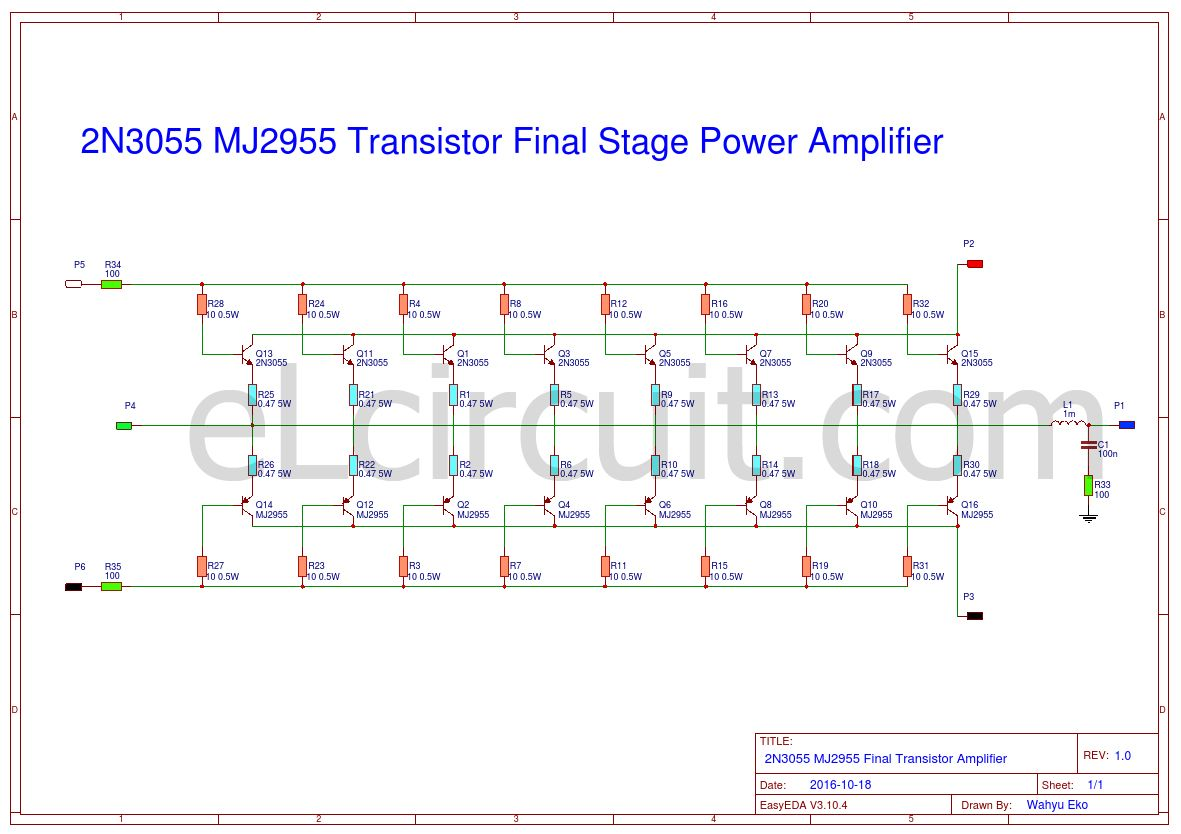 2n3055 Mj2955 Booster Transistor Circuit Summer Pinterest Audio Amplifierwith Pcb Eleccircuitcom And About Adding 8 Set