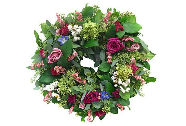 20 Pink Roses Hydrangea Wreath Add Summertime Cheer Any Time Of Year With This Colorful Wreath Featuring Roses Delph Hydrangea Wreath Dried Wreath Wreaths