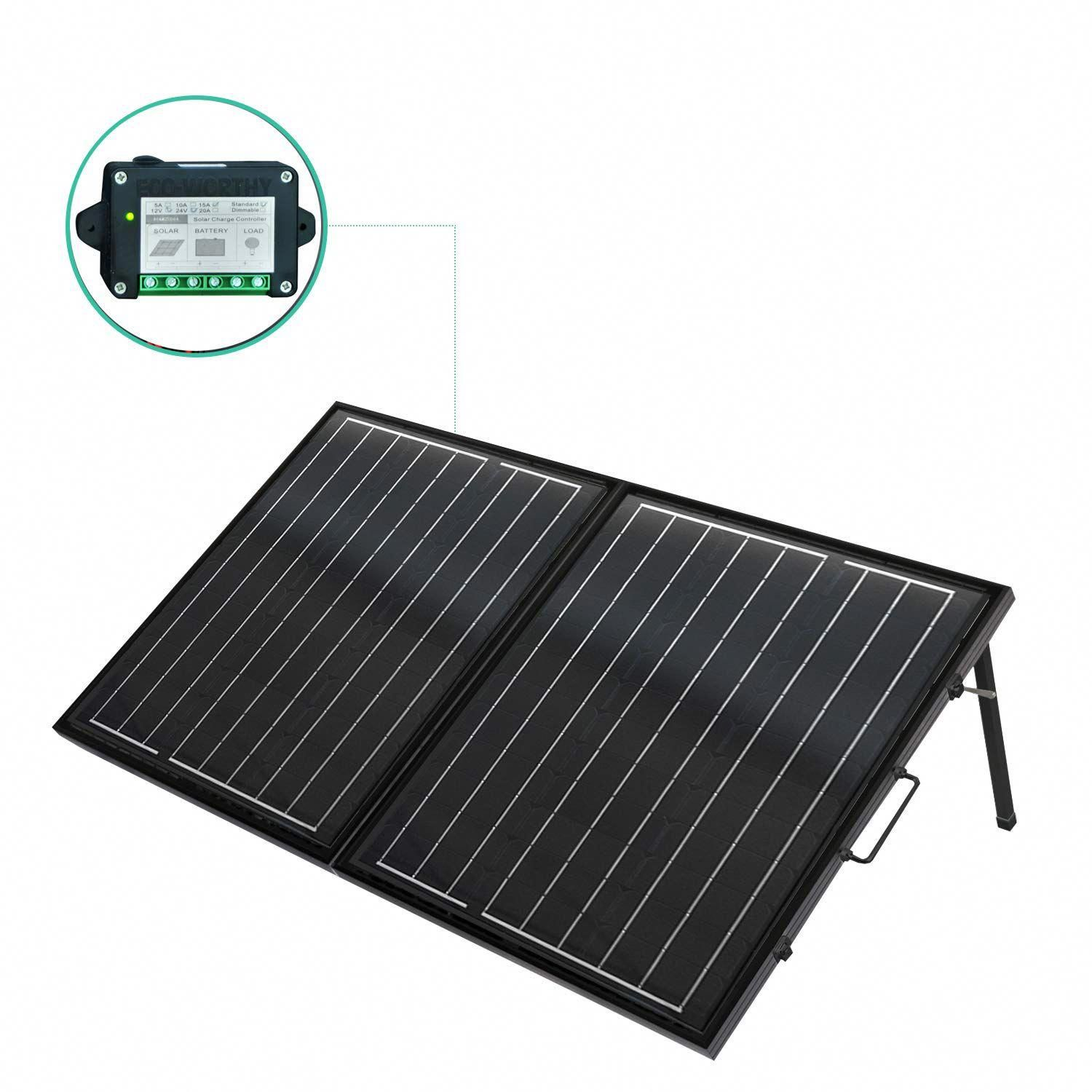 Eco Worthy 120 Watt 12volt Off Grid Monocrystalline Portable Foldable Solar Panel Suitcase With Charge Controller In 2020 Solar Panels Solar Panel Installation Solar