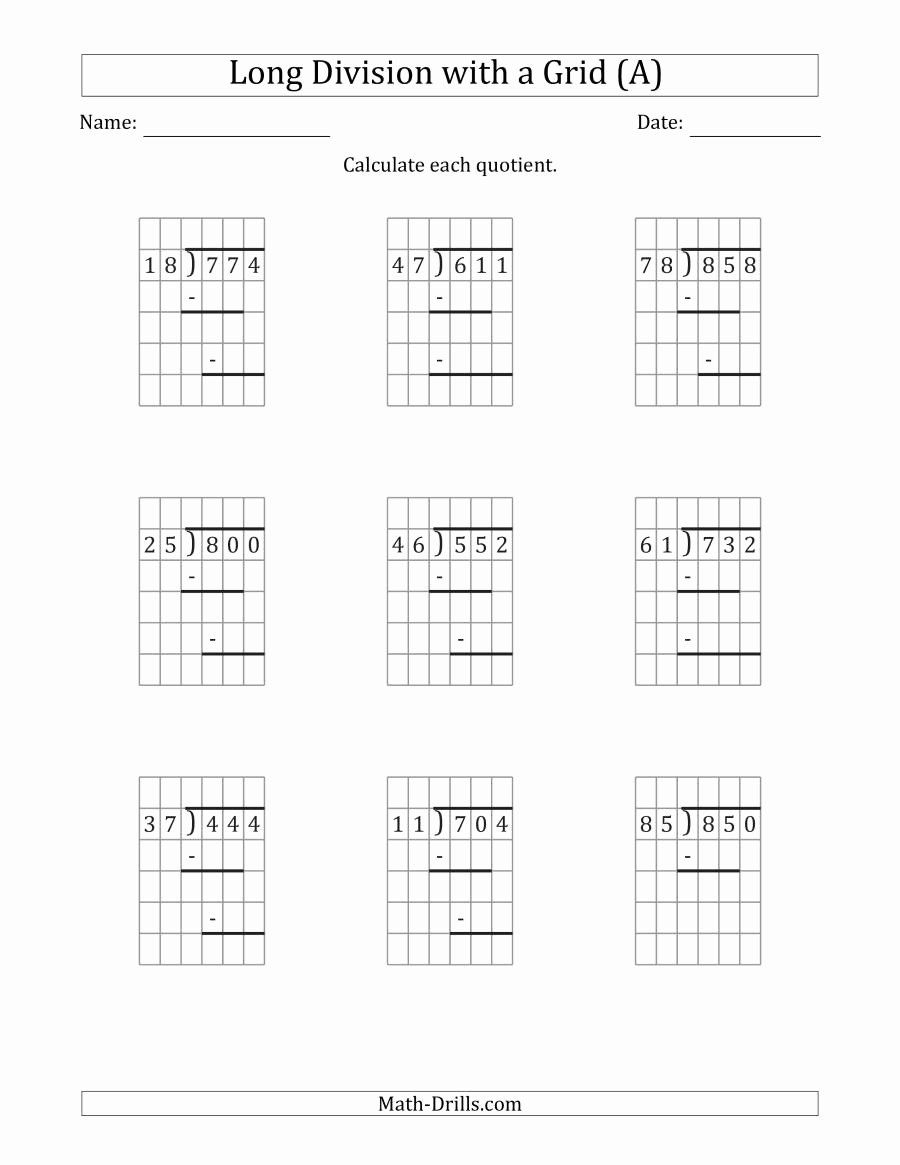 3 Digit By 3 Digit Multiplication Worksheets With Grids Inspirational 3 Digit By 2 Digit Long Div In 2020 Long Division Division Worksheets Division Worksheets Grade 5