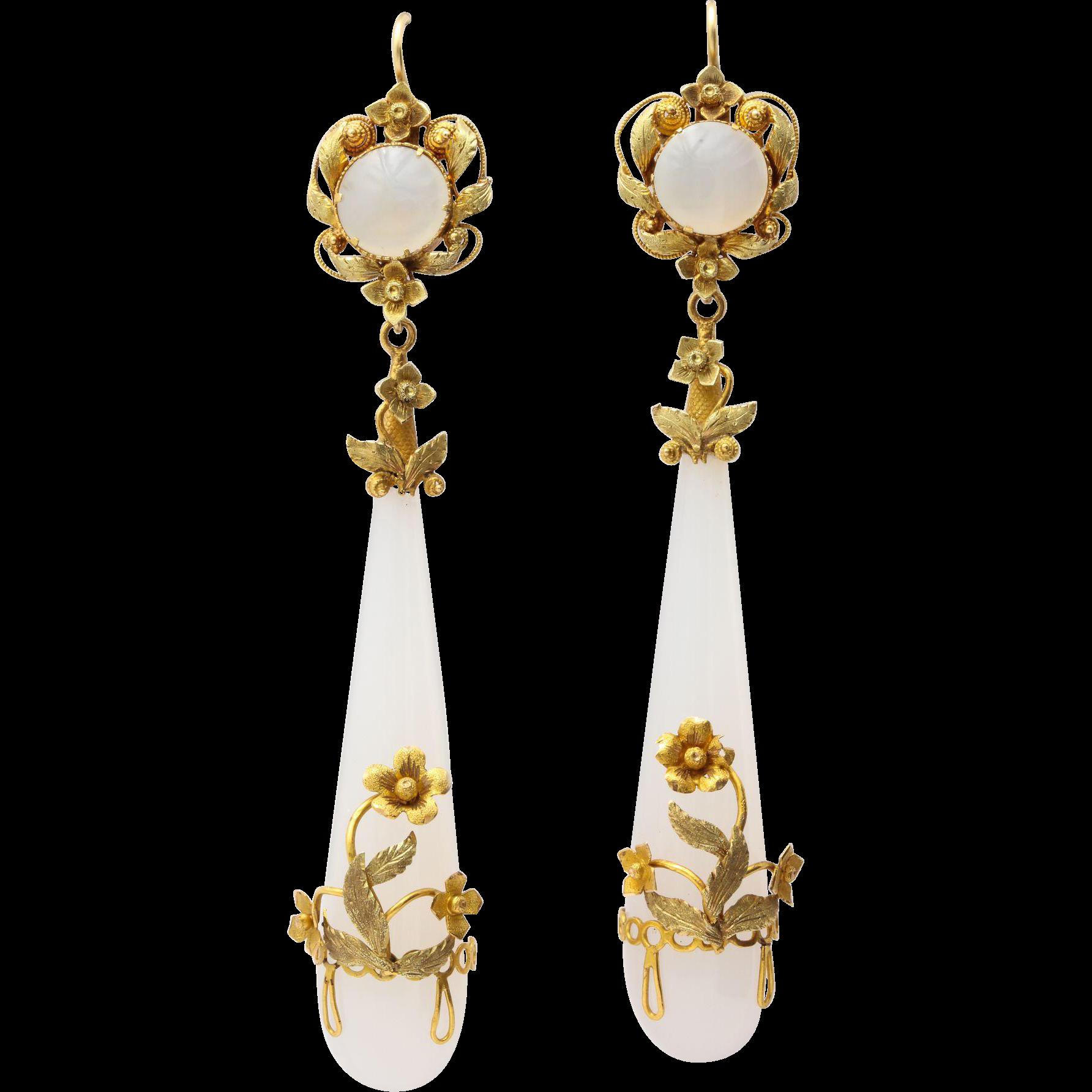Georgian wrapped chalcedony chandelier earrings chandelier elegant georgian wrapped chalcedony chandelier earrings arubaitofo Images