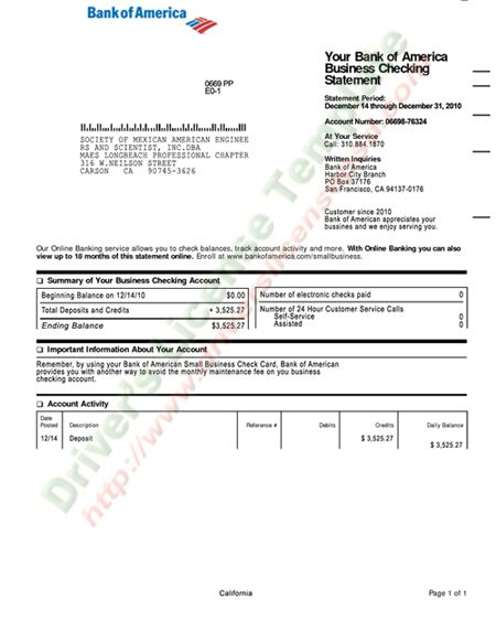 BoA Business Checking Statement PSD Bank Statement PSD - doctor note pdf