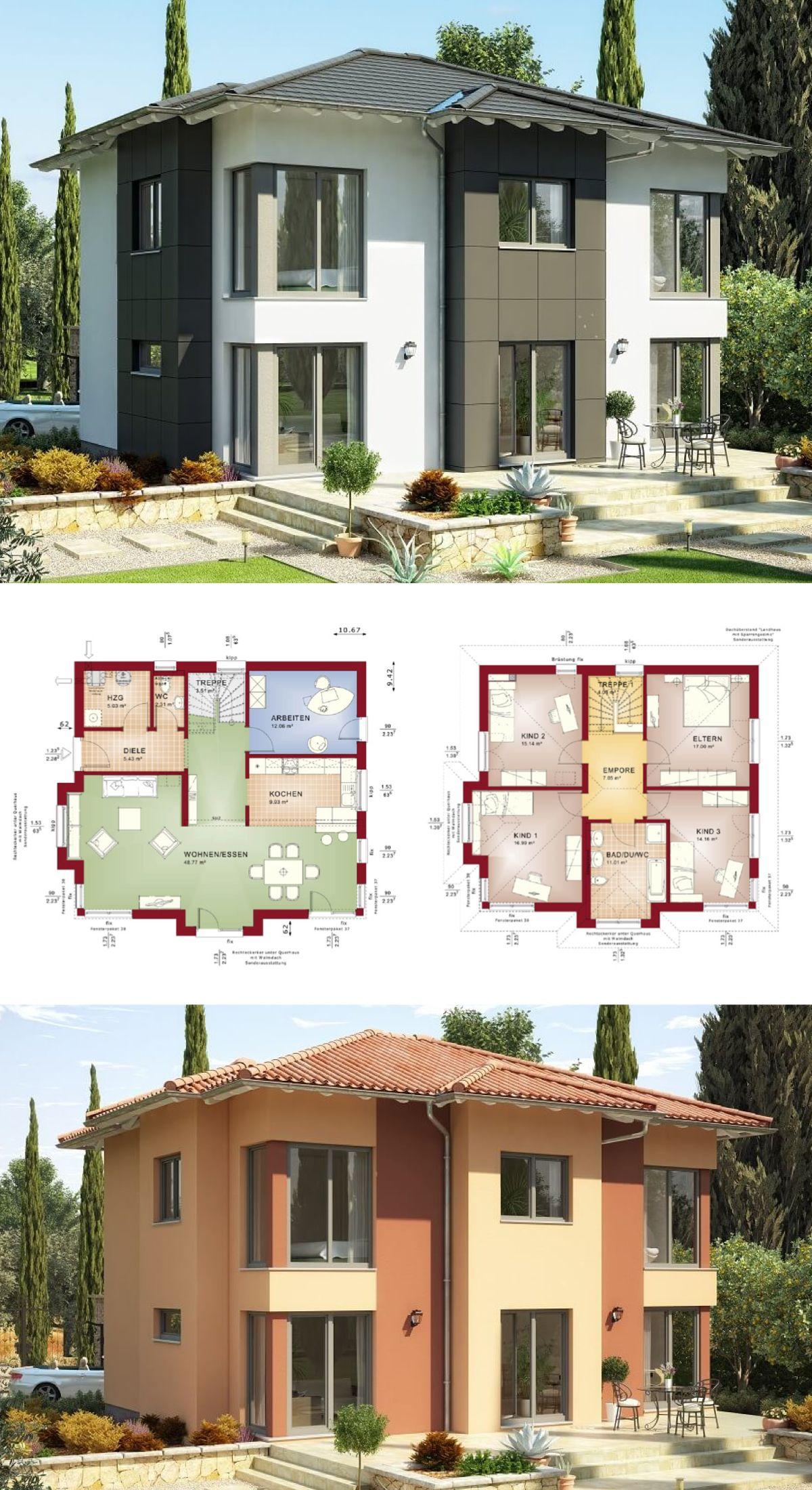 MODERNE STADTVILLA Mit Walmdach // Haus Evolution 165 V3 Bien Zenker    Einfamilienhaus Grundriss Modern